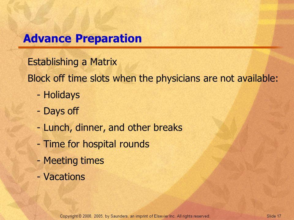 Advance Preparation Establishing a Matrix