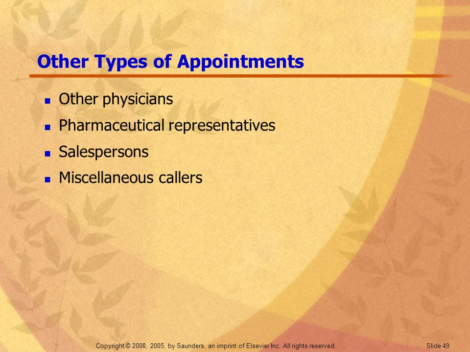 Other Types of Appointments