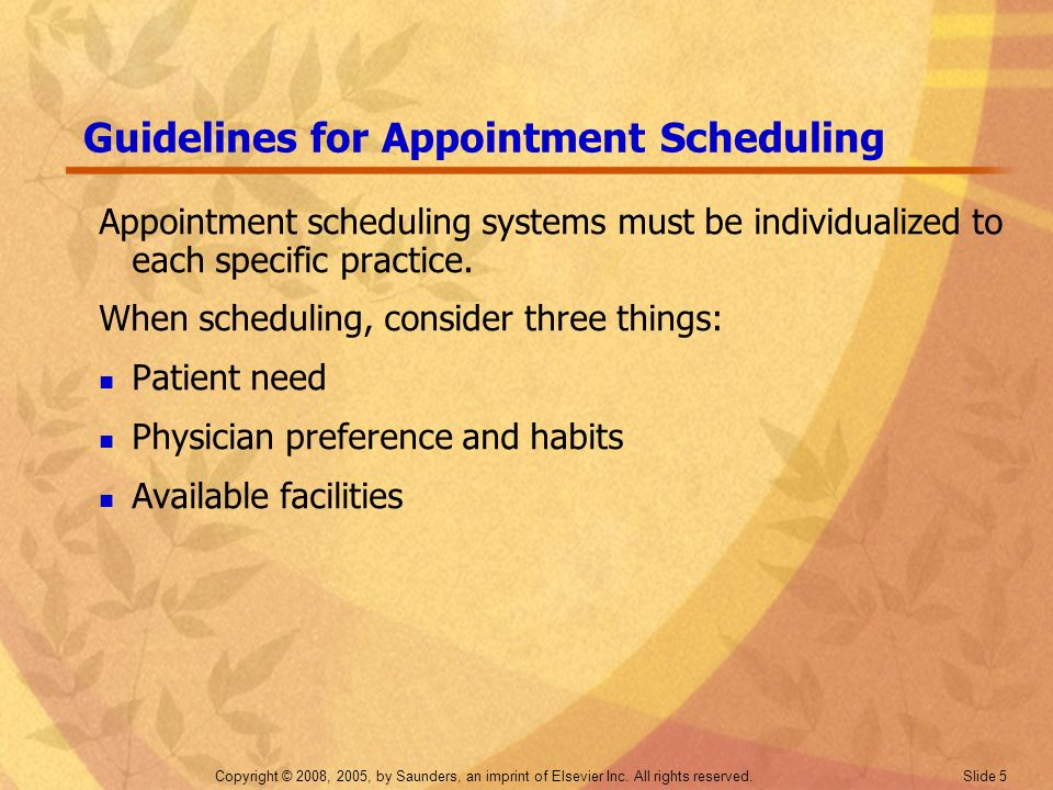 Guidelines for Appointment Scheduling