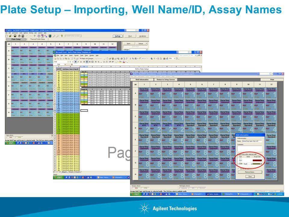 Plate Setup – Importing, Well Name/ID, Assay Names