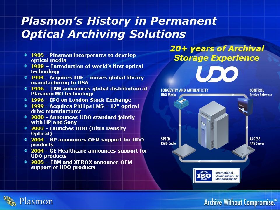 Plasmon's History in Permanent Optical Archiving Solutions
