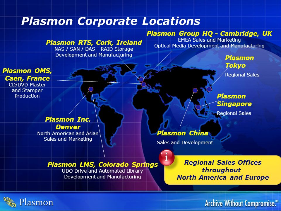 Plasmon Corporate Locations