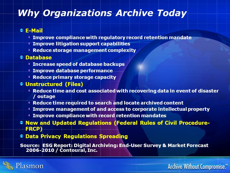 Why Organizations Archive Today