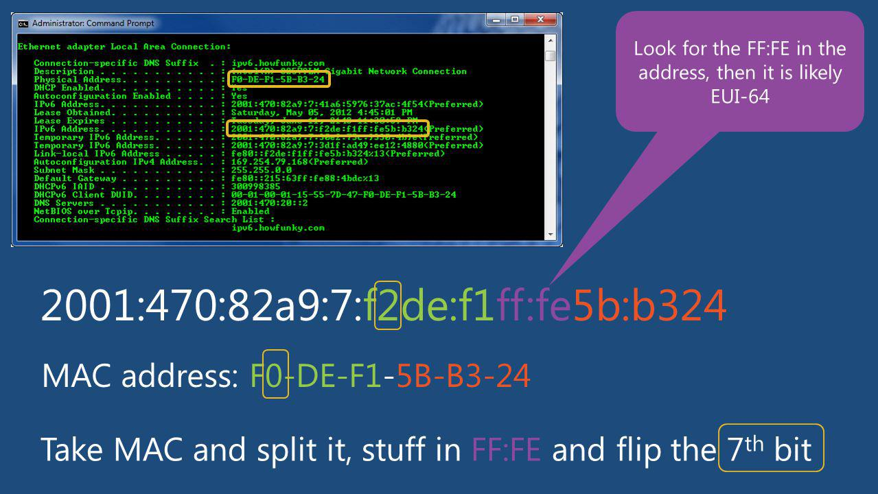 Look for the FF:FE in the address, then it is likely EUI-64