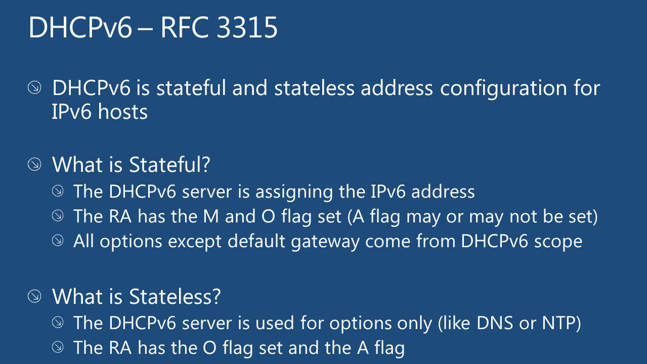 DHCPv6 – RFC 3315 DHCPv6 is stateful and stateless address configuration for IPv6 hosts. What is Stateful