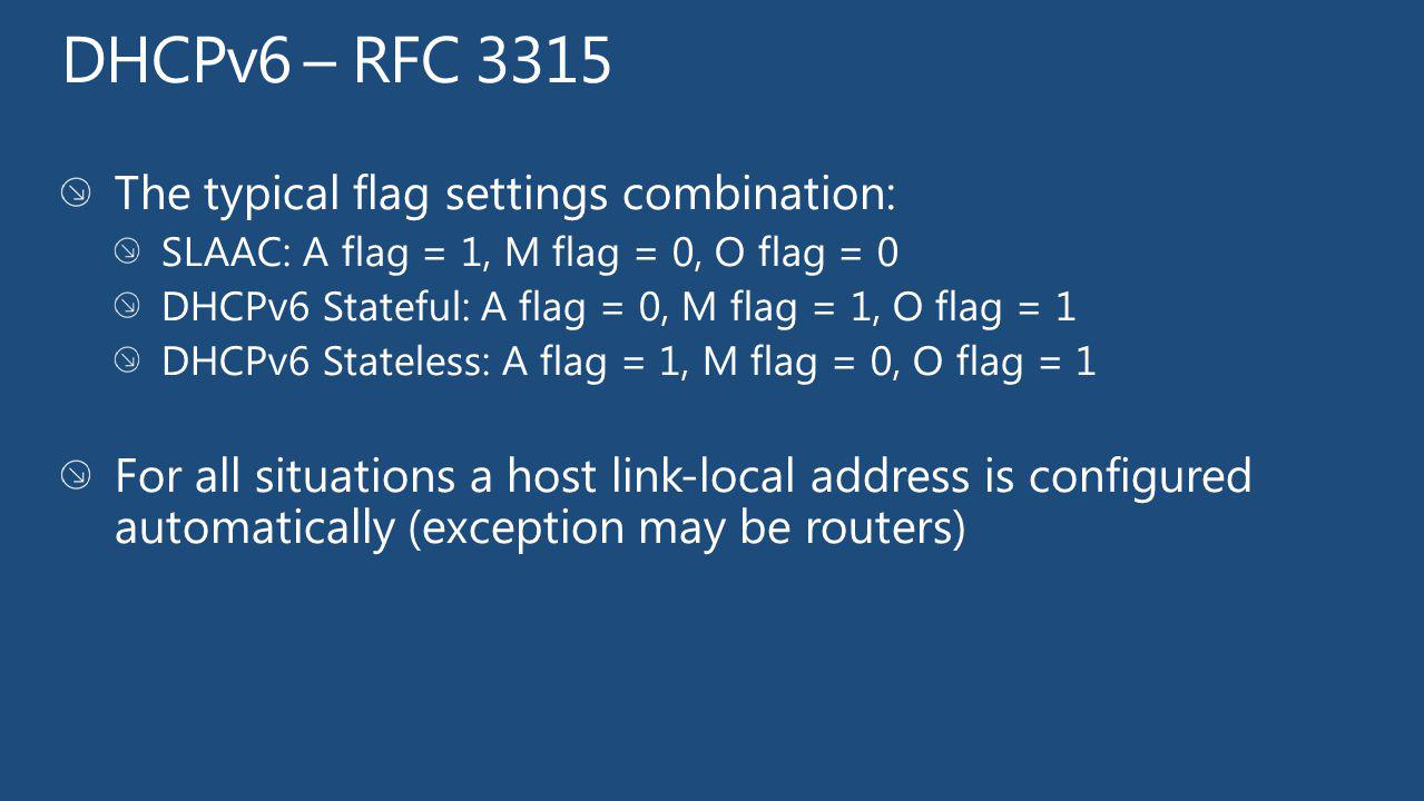 DHCPv6 – RFC 3315 The typical flag settings combination: