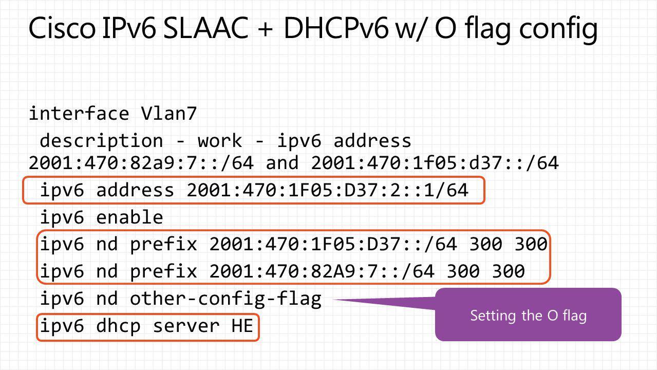 Cisco IPv6 SLAAC + DHCPv6 w/ O flag config