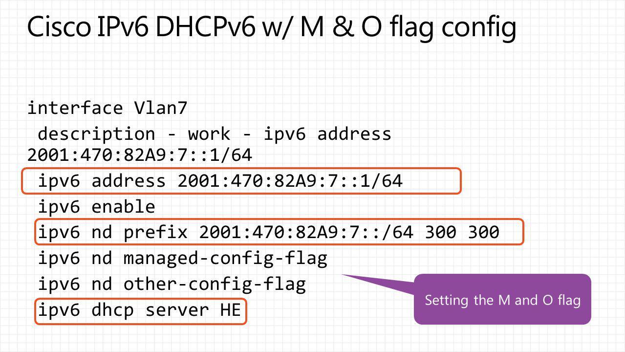 Cisco IPv6 DHCPv6 w/ M & O flag config