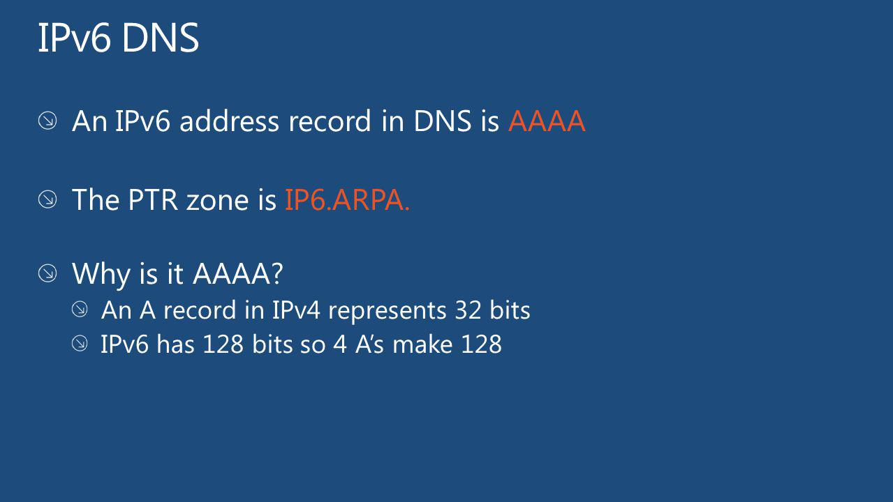 IPv6 DNS An IPv6 address record in DNS is AAAA