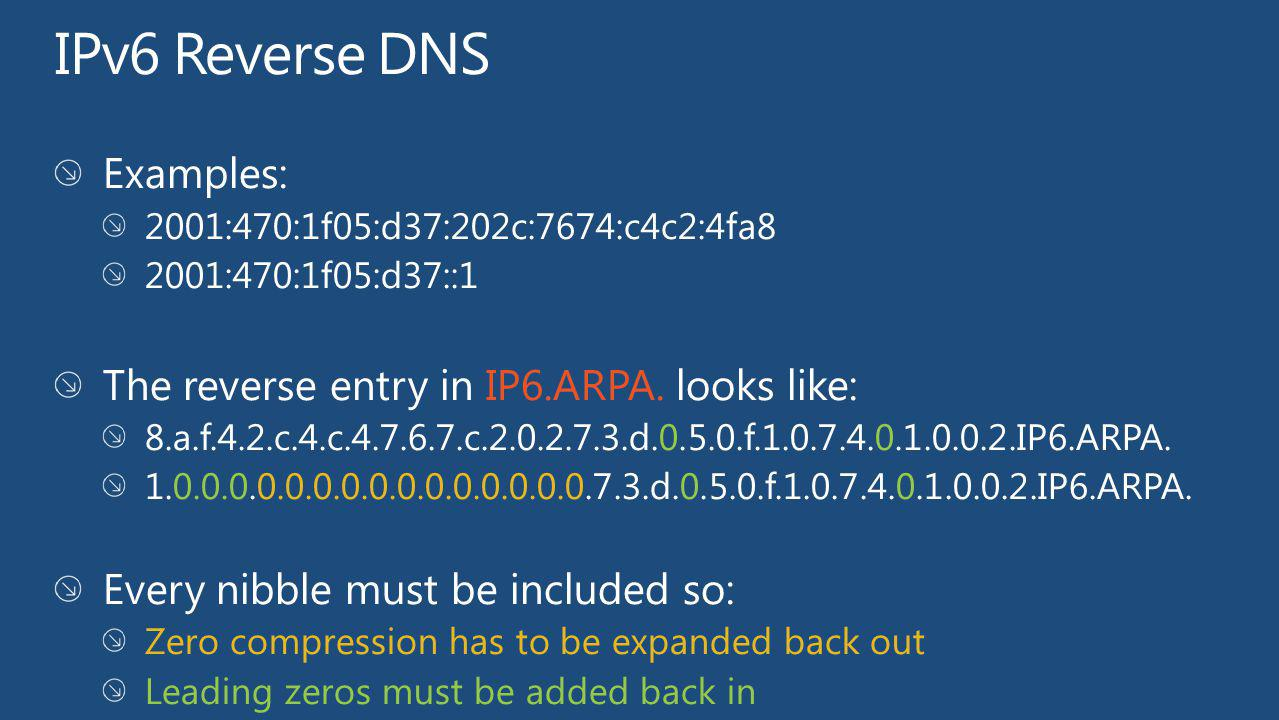 IPv6 Reverse DNS Examples: The reverse entry in IP6.ARPA. looks like: