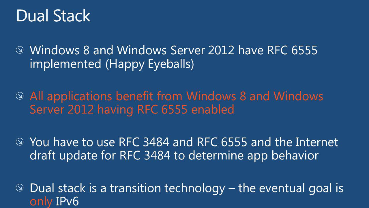 Dual Stack Windows 8 and Windows Server 2012 have RFC 6555 implemented (Happy Eyeballs)