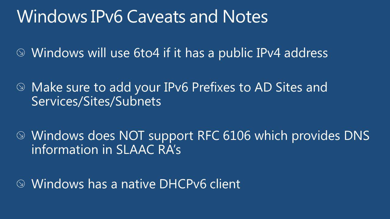 Windows IPv6 Caveats and Notes