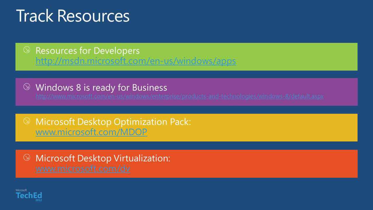 Track Resources Resources for Developers http://msdn.microsoft.com/en-us/windows/apps.