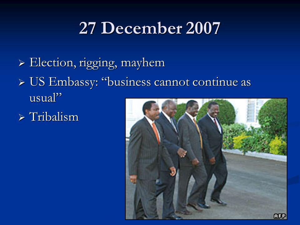 27 December 2007 Election, rigging, mayhem