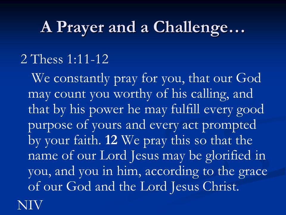 A Prayer and a Challenge…