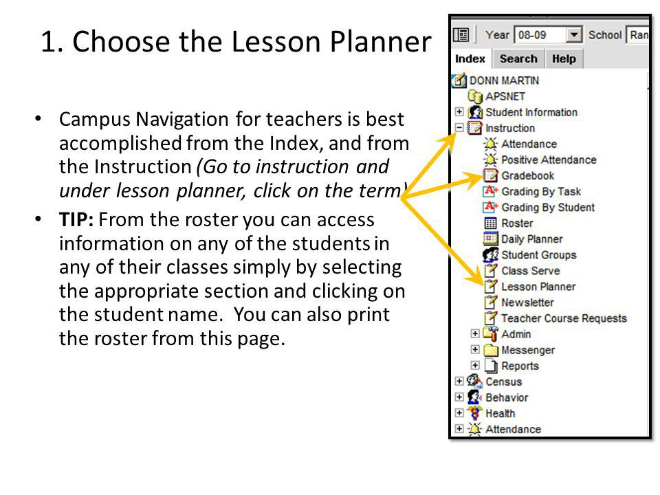 1. Choose the Lesson Planner