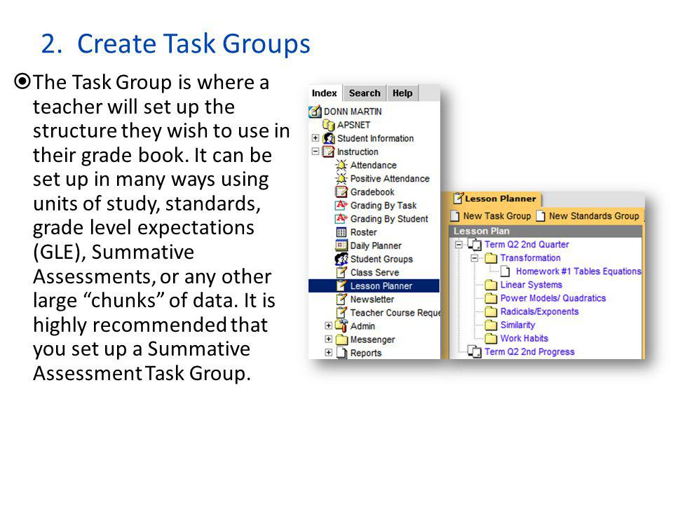 2. Create Task Groups