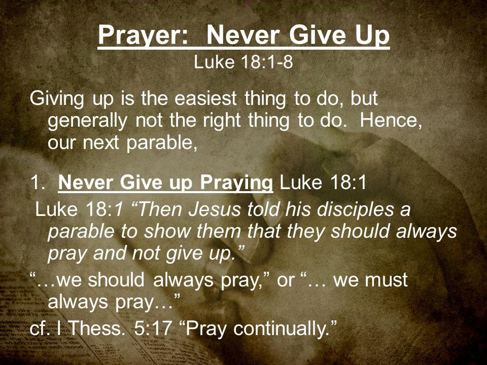 Prayer: Never Give Up Luke 18:1-8