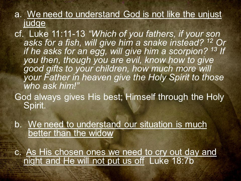 a. We need to understand God is not like the unjust judge