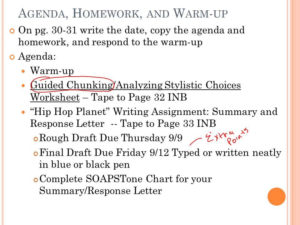 Agenda, Homework, and Warm-up