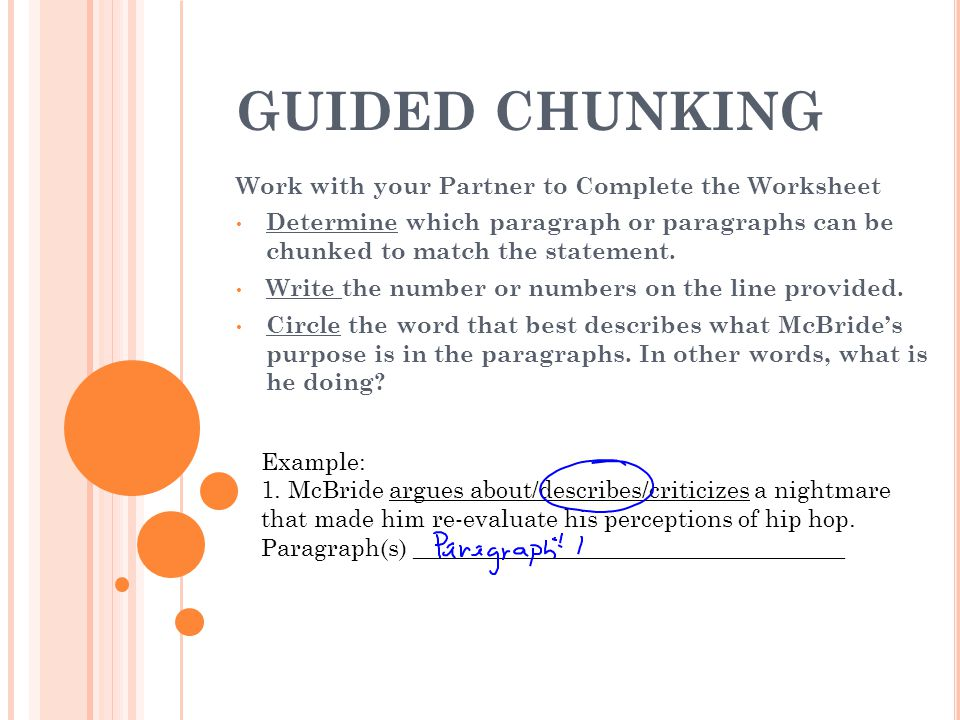 GUIDED CHUNKING Work with your Partner to Complete the Worksheet