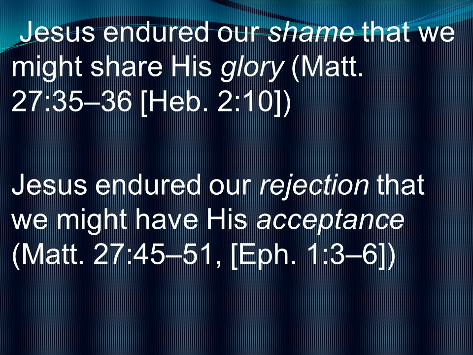 Jesus endured our shame that we might share His glory (Matt