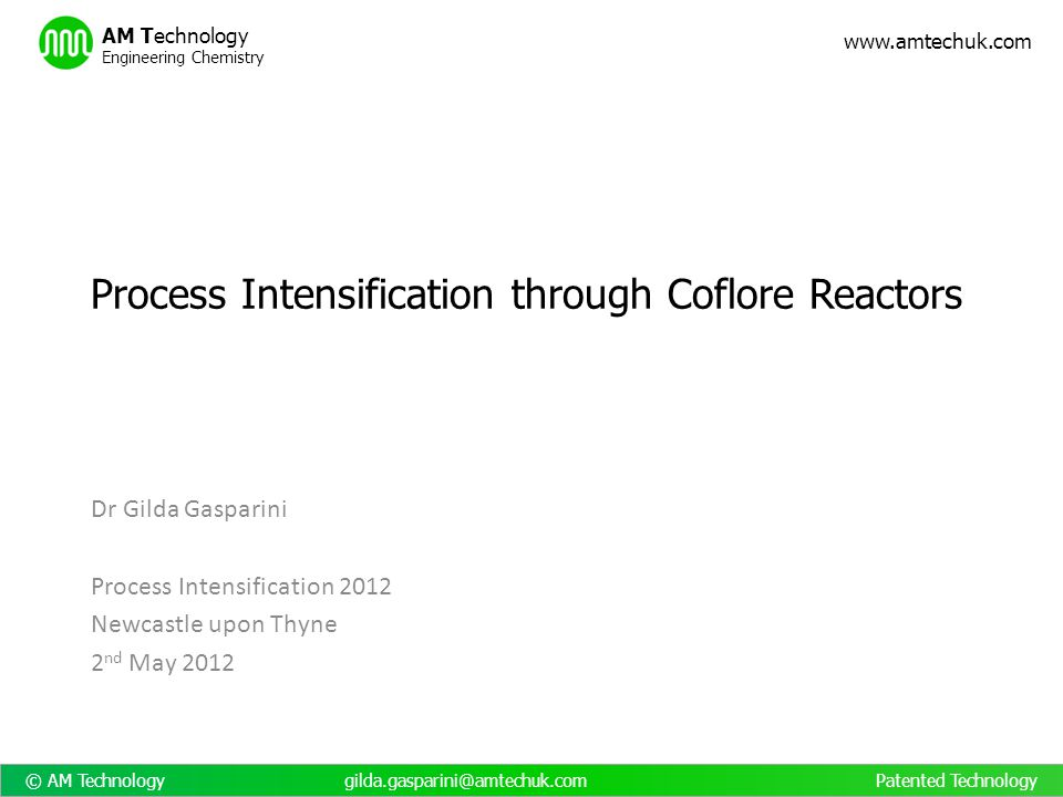 Process Intensification through Coflore Reactors