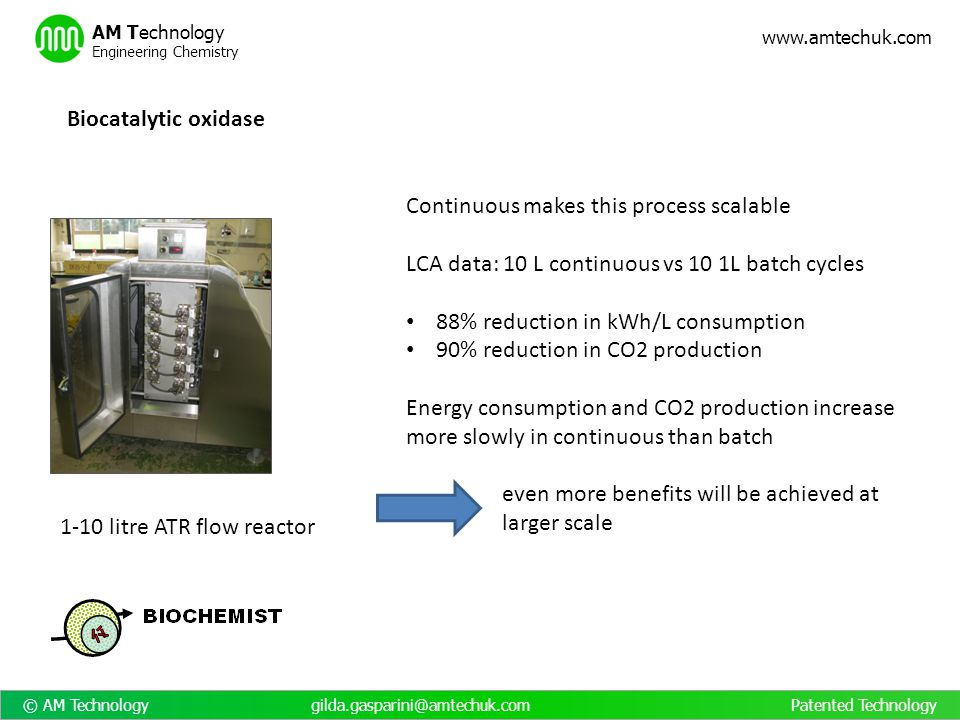 Biocatalytic oxidase Continuous makes this process scalable. LCA data: 10 L continuous vs 10 1L batch cycles.