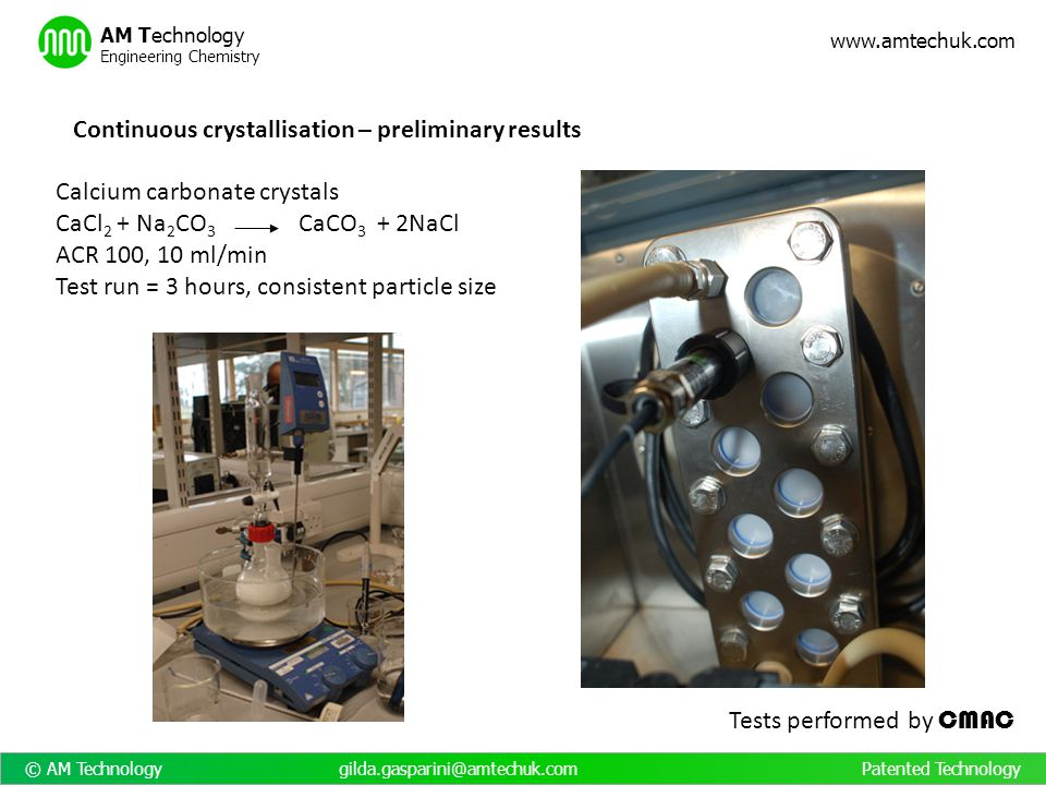 Continuous crystallisation – preliminary results
