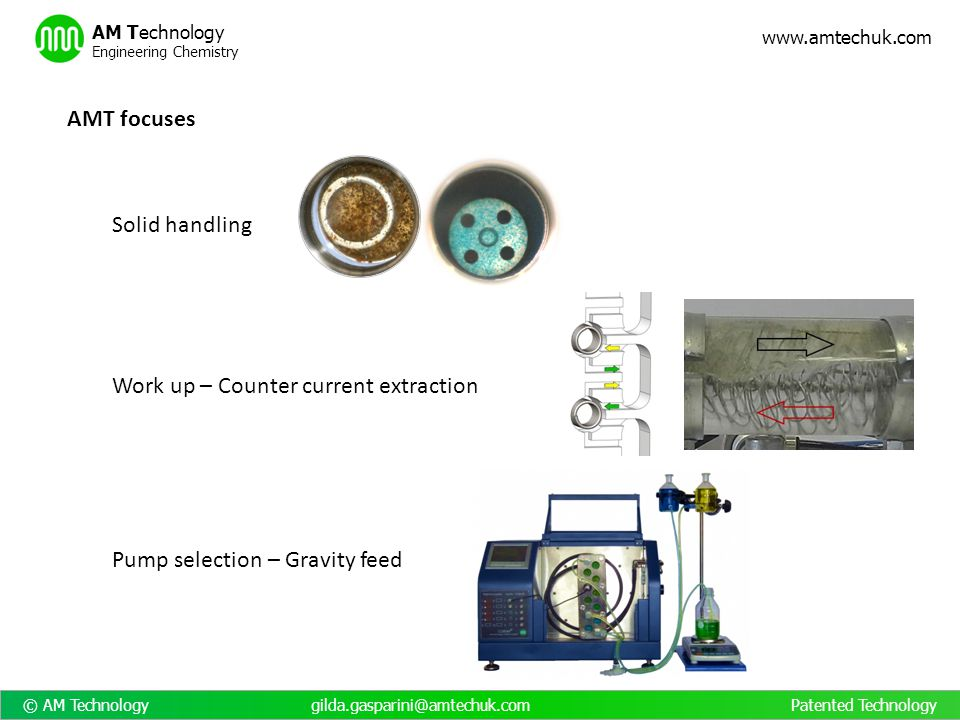 AMT focuses Solid handling Work up – Counter current extraction Pump selection – Gravity feed