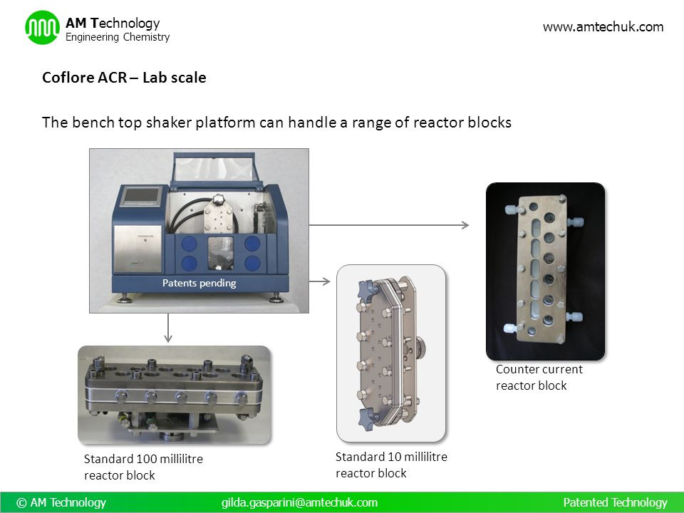 The bench top shaker platform can handle a range of reactor blocks
