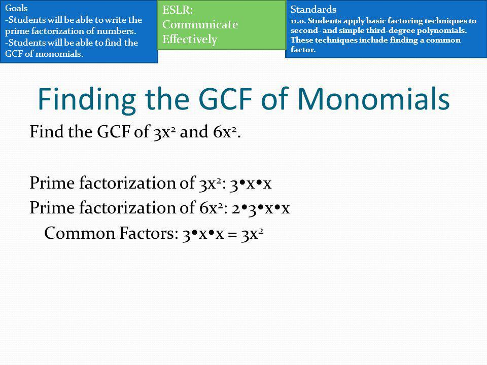 Finding the GCF of Monomials