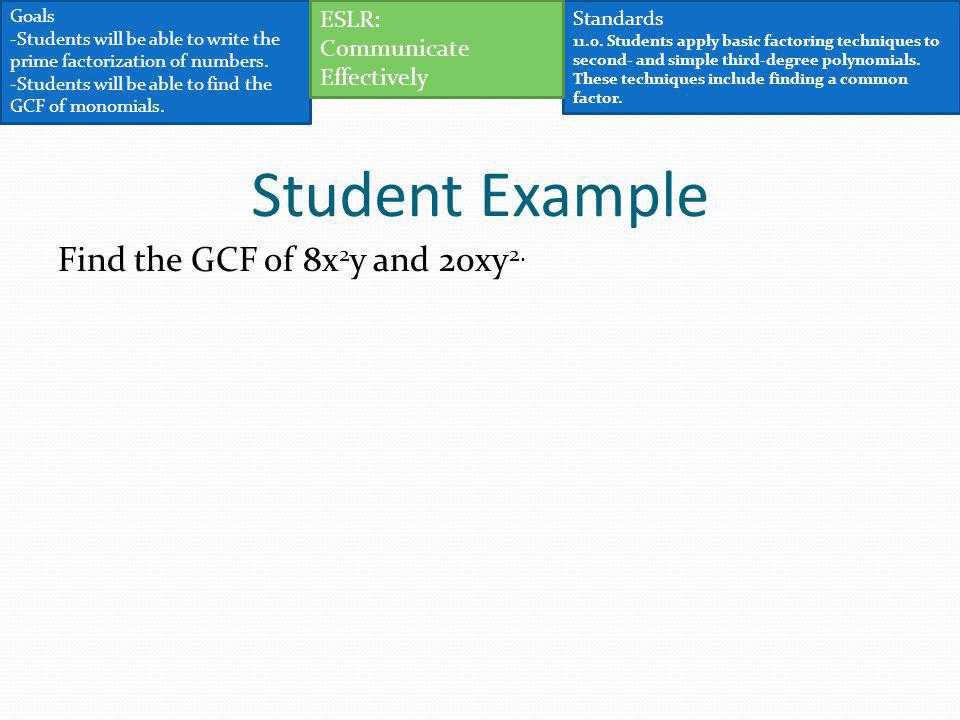 Student Example Find the GCF of 8x2y and 20xy2. ESLR: