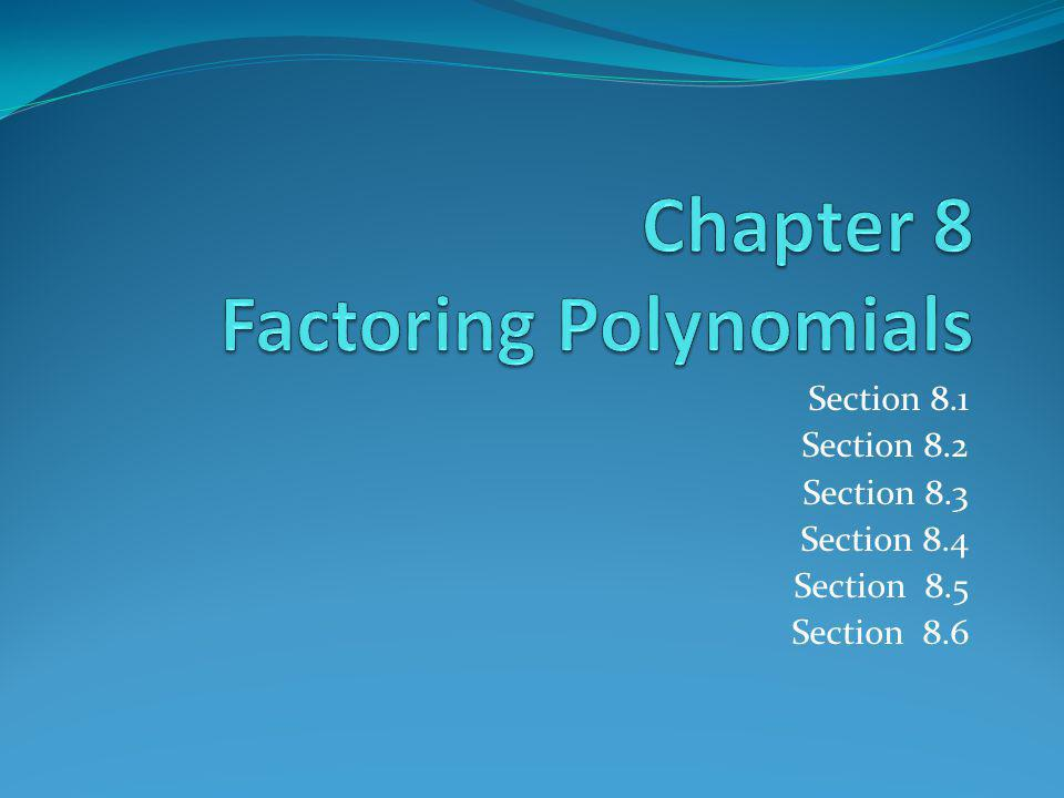 Chapter 8 Factoring Polynomials