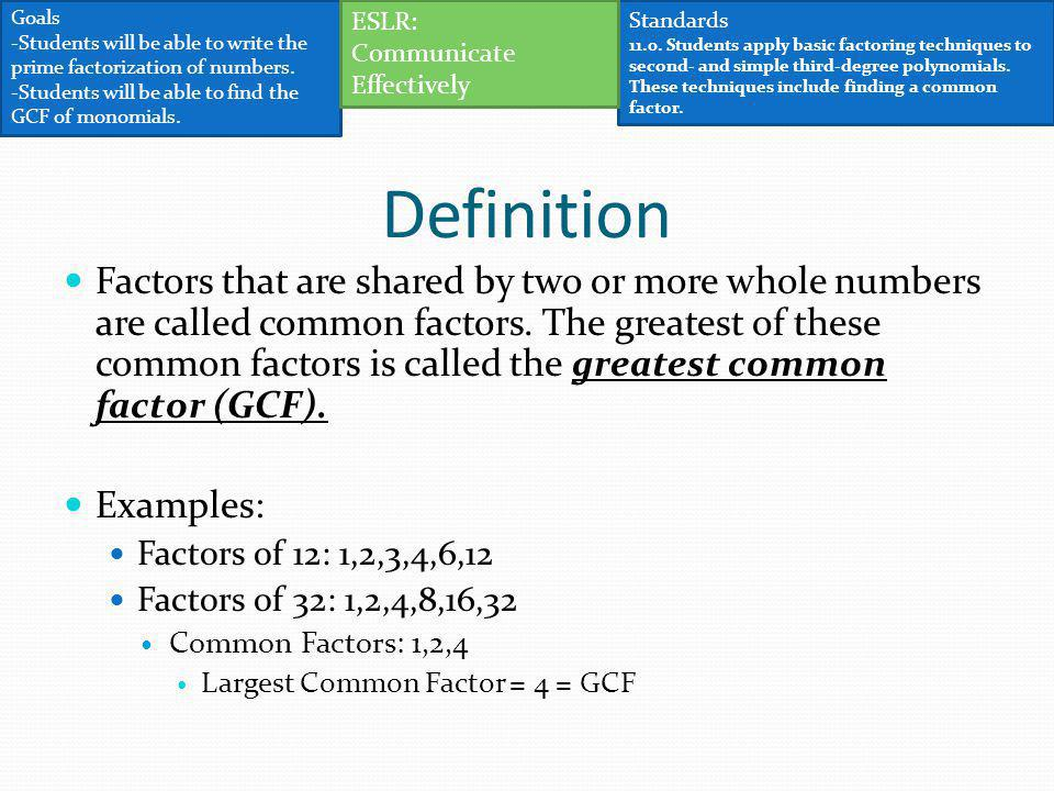 Goals -Students will be able to write the prime factorization of numbers. -Students will be able to find the GCF of monomials.