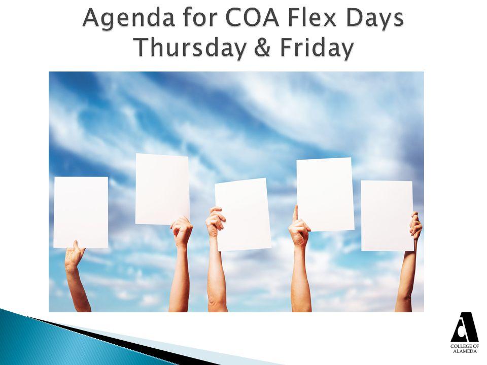 Agenda for COA Flex Days Thursday & Friday