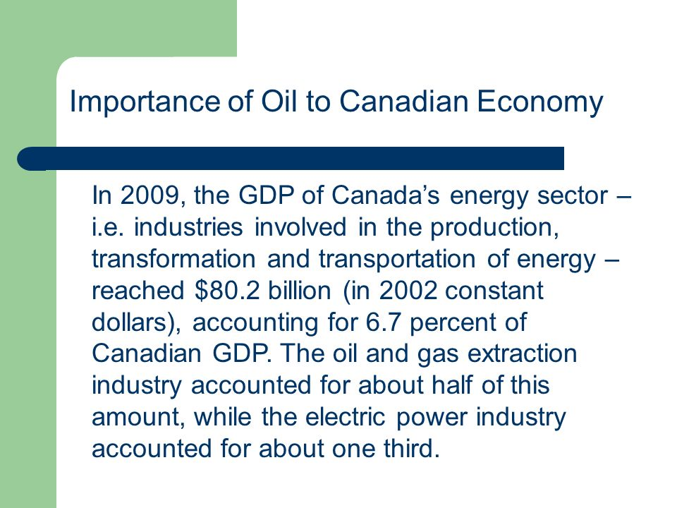 Importance of Oil to Canadian Economy