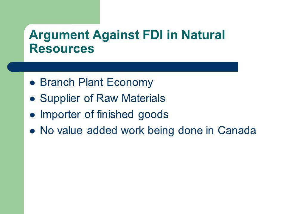 Argument Against FDI in Natural Resources