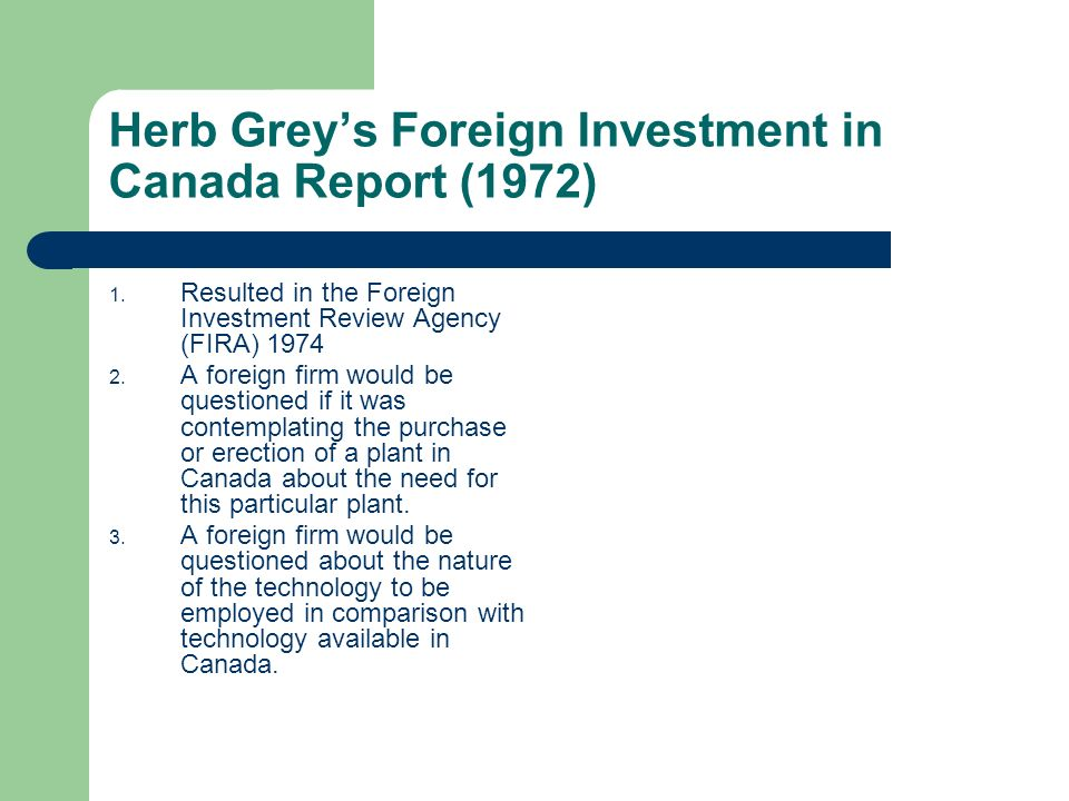Herb Grey's Foreign Investment in Canada Report (1972)