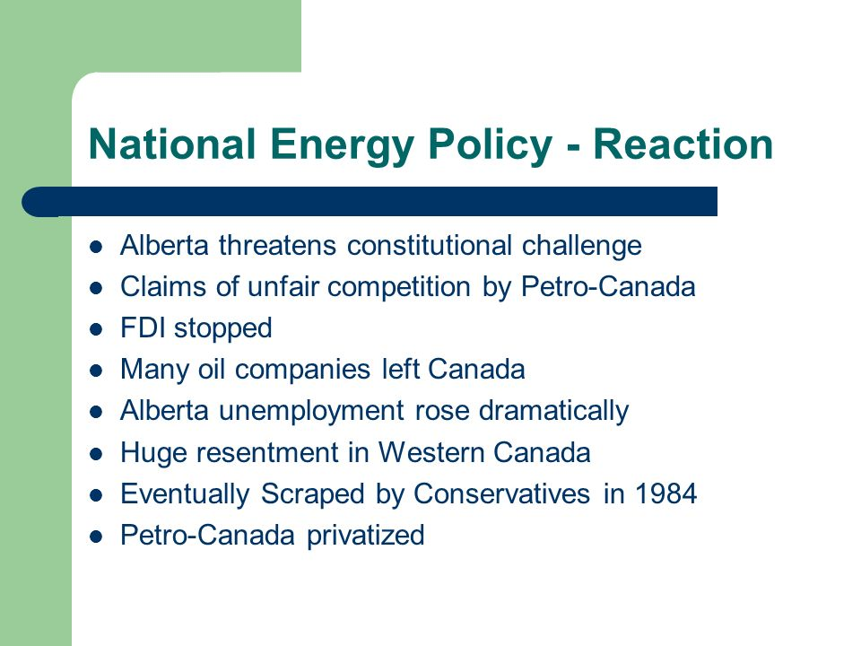 National Energy Policy - Reaction