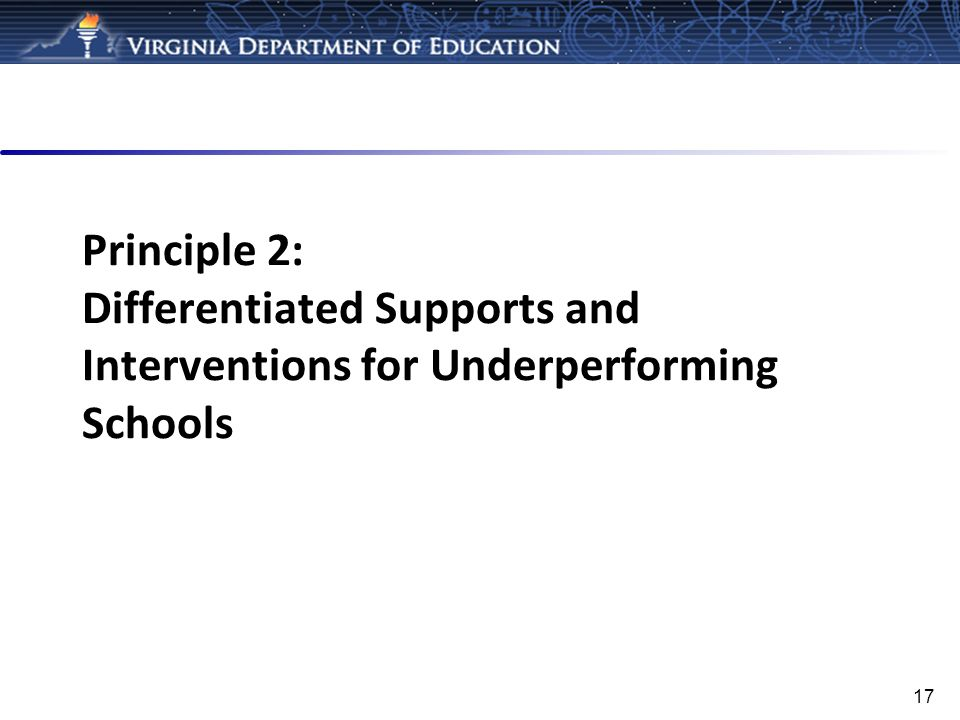 Principle 2: Differentiated Supports and Interventions for Underperforming Schools
