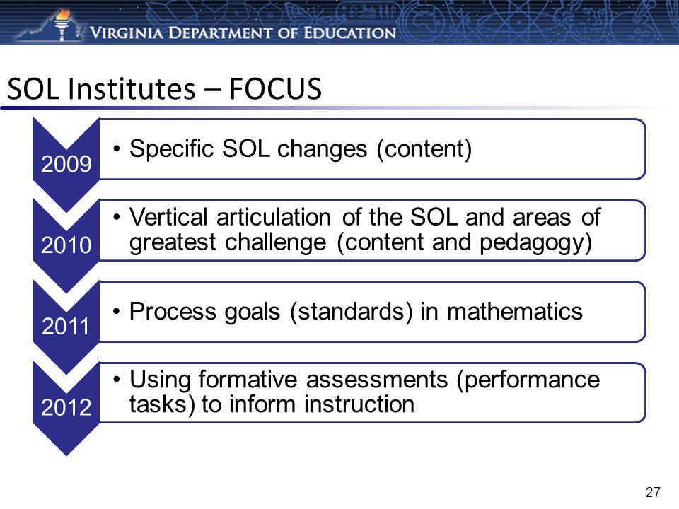 SOL Institutes – FOCUS Specific SOL changes (content)