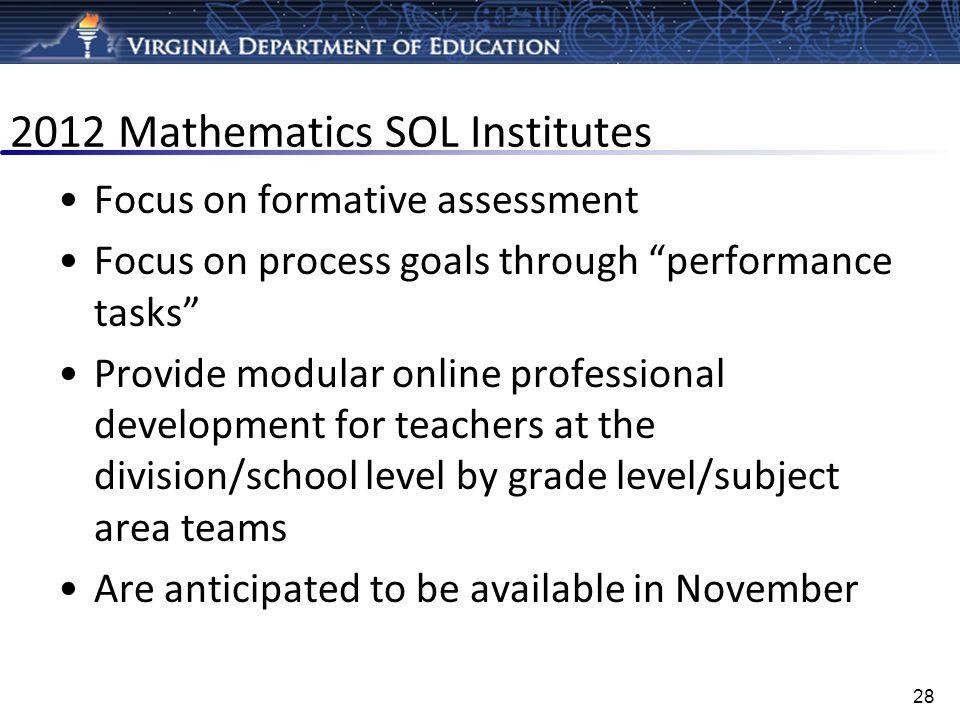 2012 Mathematics SOL Institutes