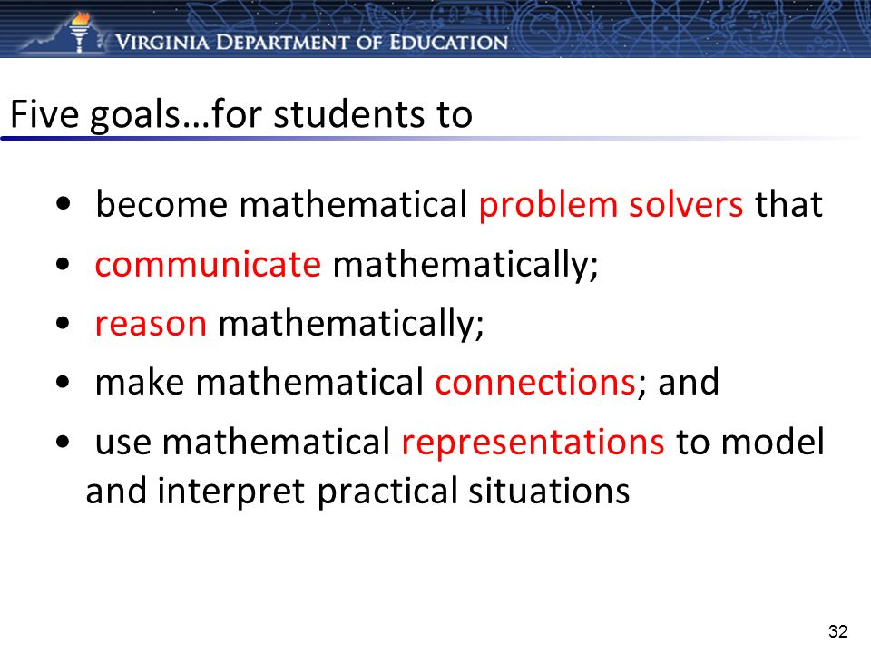 Five goals…for students to