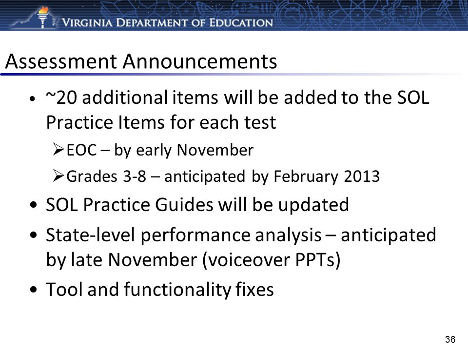 Assessment Announcements