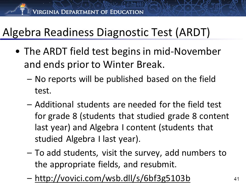 Algebra Readiness Diagnostic Test (ARDT)