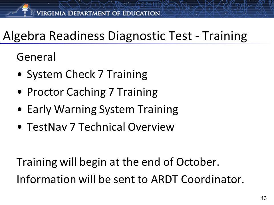 Algebra Readiness Diagnostic Test - Training