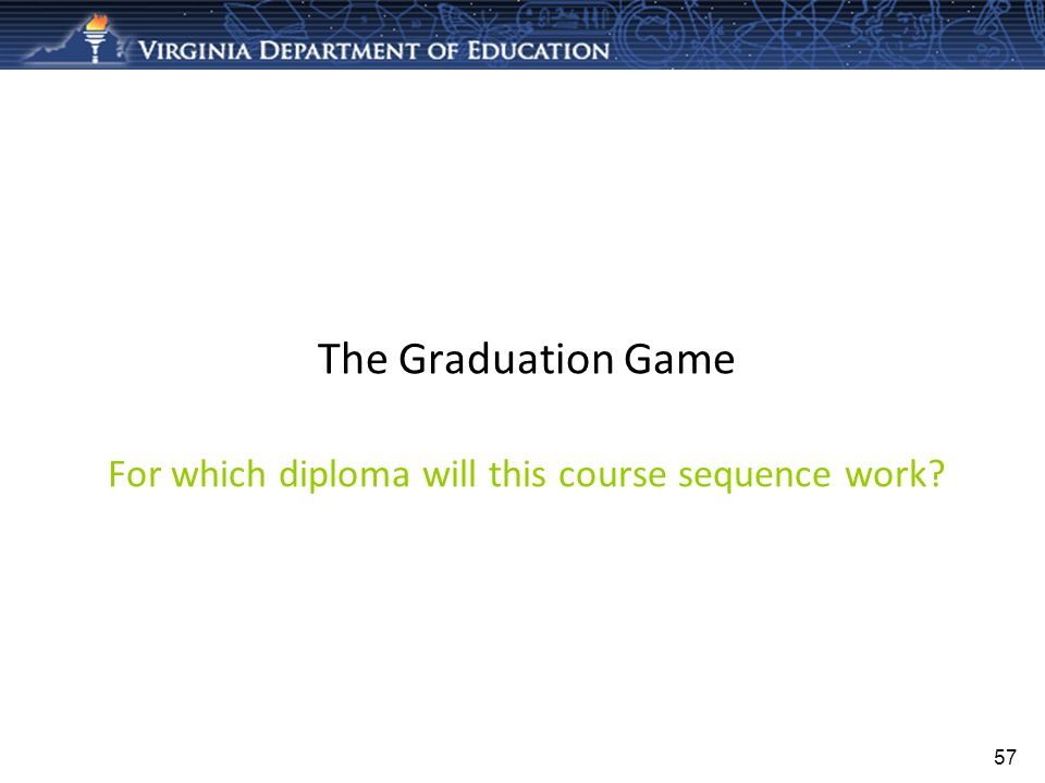 The Graduation Game For which diploma will this course sequence work