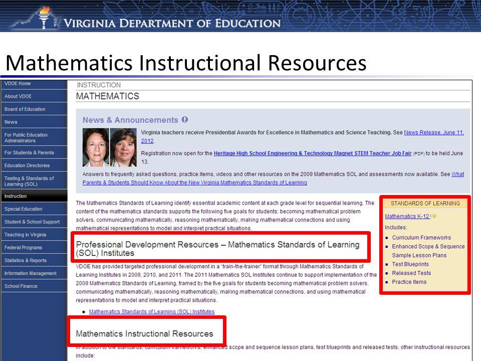 Mathematics Instructional Resources