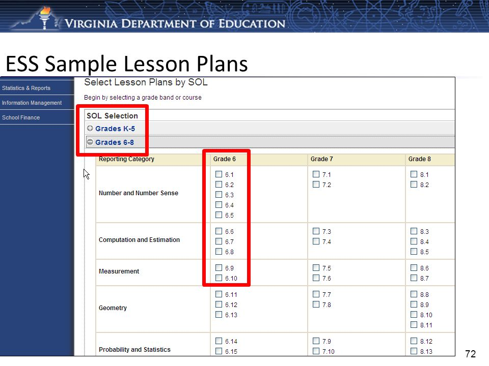 ESS Sample Lesson Plans